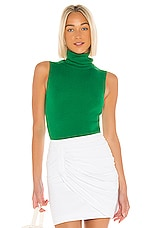 Alice + Olivia Darcy Turtleneck Sweater Tank in Emerald
