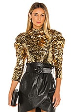 Alice + Olivia Brenna Sequin Puff Sleeve Top in Gold