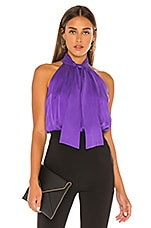 Alice + Olivia Leia Tie Neck Hatler Top in Violet
