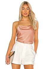Alice + Olivia Harmon Drapey Slip Tank in Rose Tan