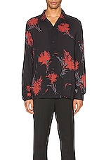 ALLSAINTS Arboretum Long Sleeve Shirt in Jet Black & Red