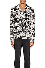 ALLSAINTS Awa Long Sleeve Shirt in Jet Black & Ecru