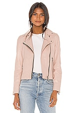 ALLSAINTS Dalby Leather Biker Jacket in Nude Pink