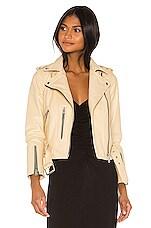 ALLSAINTS Balfern Leather Biker Jacket in Pale Yellow