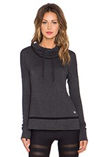 Hail Long Sleeve Top in Charcoal Heather & Black