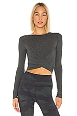 alo Cover Long Sleeve Top in Anthracite Heather