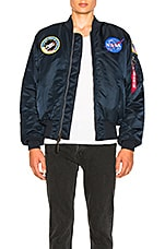 ALPHA INDUSTRIES Nasa MA 1 Bomber in Replica Blue