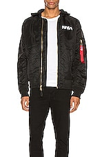 ALPHA INDUSTRIES L-2B Hooded NASA II Jacket in Black