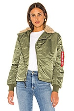 ALPHA INDUSTRIES B-15 Straight Hem Mod Jacket With Faux Fur in Sage
