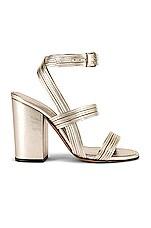 ALUMNAE Stitched Mignon Block Heel in Metallic Platino