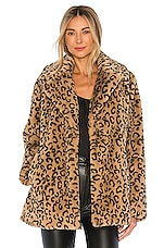 A.L.C. Stone Faux Fur Coat in Light Brown & Black