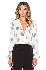 Julie Blouse in White, Black & Pink