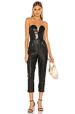 Amanda Uprichard Cherri Jumpsuit in Black Leather