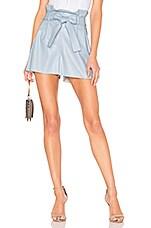 Amanda Uprichard Tessi Faux Leather Shorts in Powder Blue