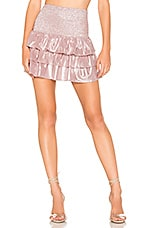 Amanda Uprichard x REVOLVE Mariska Mini Skirt in Blush Silver Lame