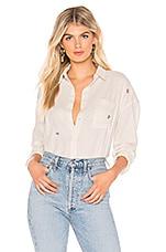 AMO Boxy Shirt in Vintage White & Rosebud