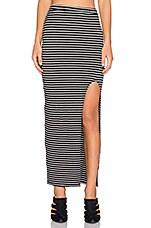 Zamora Maxi Skirt in Black & Ivory Stripe