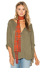 Sage Woven Top in Army Green