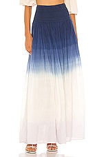 ANAAK Orai Smocked Maxi Skirt in Navy Lilac Tie Dye