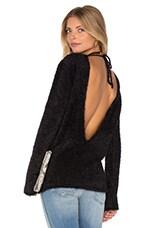 ANINE BING Open Back Fuzzy Knit Sweater in Black