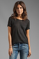 Boatneck Linen Tee in Black