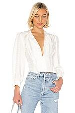 ANINE BING Lenora Silk Blouse in White