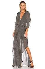 ANIMALE Deep V Maxi Dress in Black & White Stripe