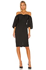ANOUKI Off Shoulder Puff Sleeve Crystal Chain Detail Dress in Black
