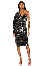 ANOUKI One Shoulder Sequin Dress in Black