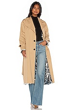 ANOUKI Sparkly Silver Double Sided Trench Coat in Beige