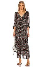 APIECE APART Bouganvillea Wrap Dress in Black Multi Brush Print