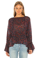 APIECE APART Midnight Shirred Top in Black Potpourri