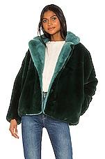 Apparis Kendall Faux Fur Jacket in Emerald Green & Sapphire Blue