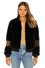 Apparis Jem Faux Fur Jacket in Black & Plush Leopard