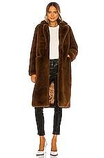 Apparis Laure Faux Fur Coat in Chocolat