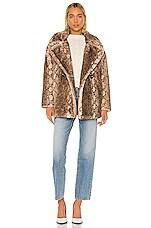 Apparis Cecile Faux Fur Coat in Mocha Python