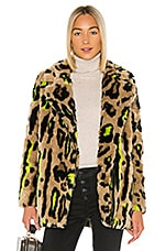 Apparis Chloe Faux Fur Coat in Neon Leopard