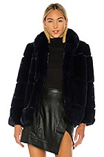 Apparis Sarah Faux Fur Jacket in Navy Blue