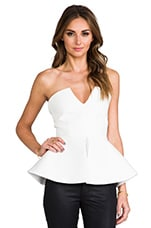 AQ/AQ Scavo Sleeveless Bodysuit w/ Peplum in Cream