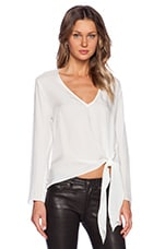 ARE YOU AM I Deep V Tie Hem Top in Natural White