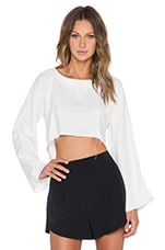 ARE YOU AM I Delphine Crop Top in Sand Wash White