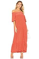 ASCENO Off Shoulder Dress in Red Polka