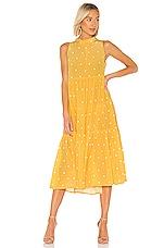 ASCENO Long Neck Tie Dress in Yellow Polka