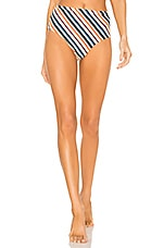 ASCENO High Waisted Bikini Bottom in Multi Diagonal Stripe