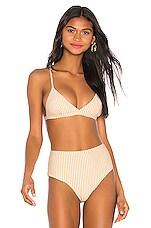 ASCENO Triangle Bikini Top in Yellow Dense Line