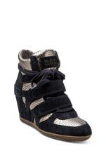 Bea Wedge Sneaker in Midnight & Piombo