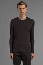 Fabric Mix Long Sleeve Tee in Black