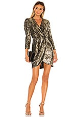 ASTR the Label Selene Dress in Gold Leopard Sequin