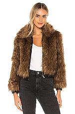 ASTR the Label Jiselle Faux Fur Jacket in Foxy Brown