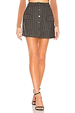 ASTR the Label Wilshire Skirt In Charcoal & Brown Stripe